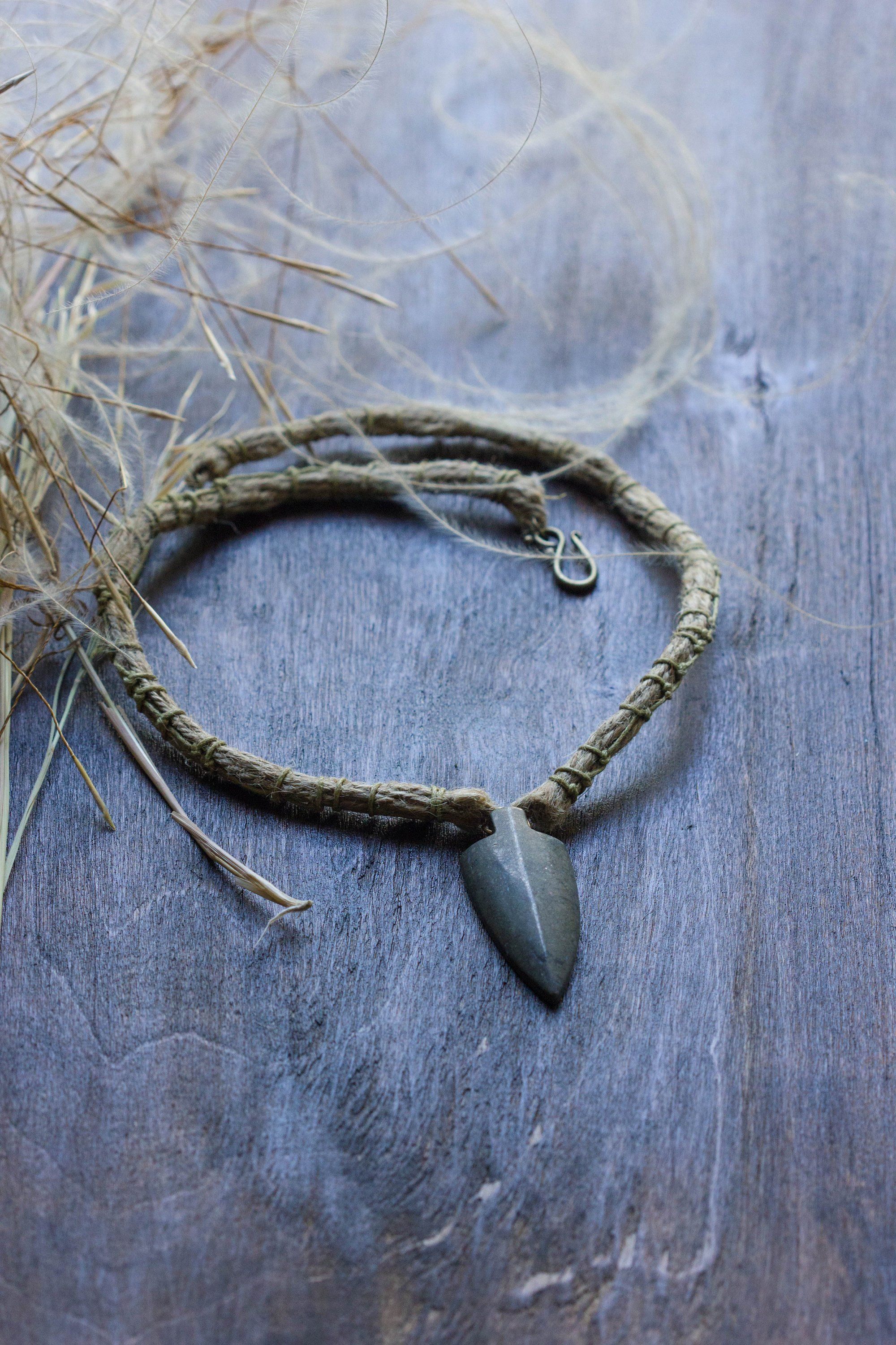 Arrowhead pendant necklace tribal choker necklace men with carved
