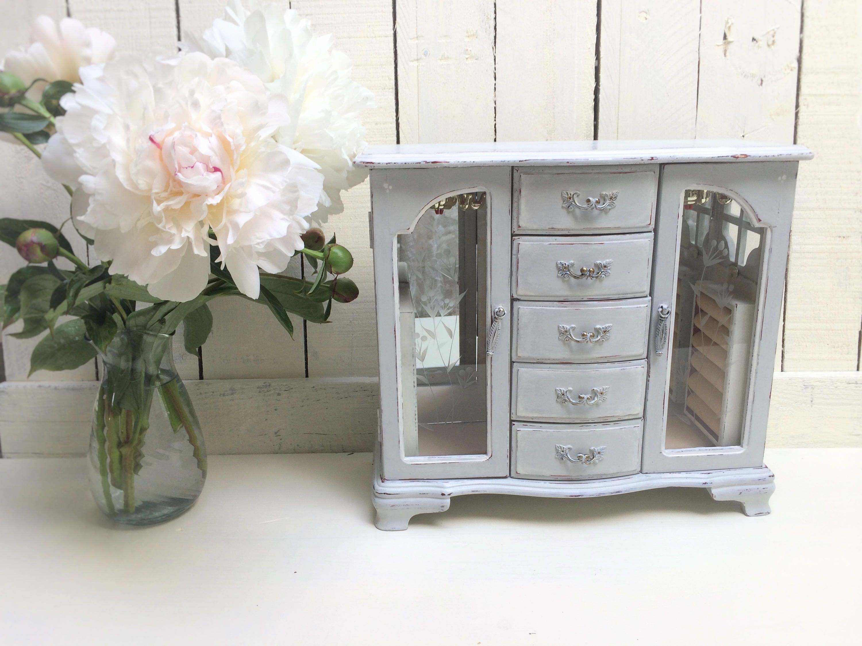Pale BlueGray Shabby Chic Jewelry Box Refinished Vintage Jewelry