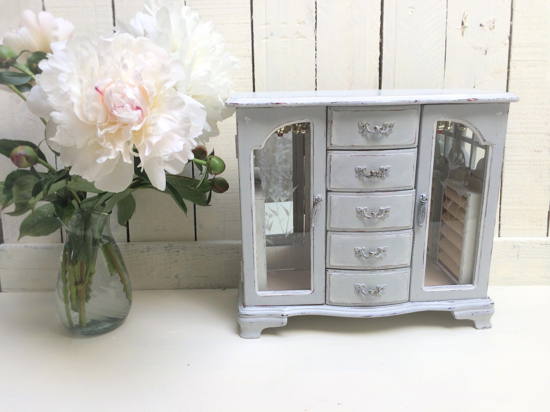 Pale BlueGray Shabby Chic Jewelry Box Refinished Vintage Jewelry