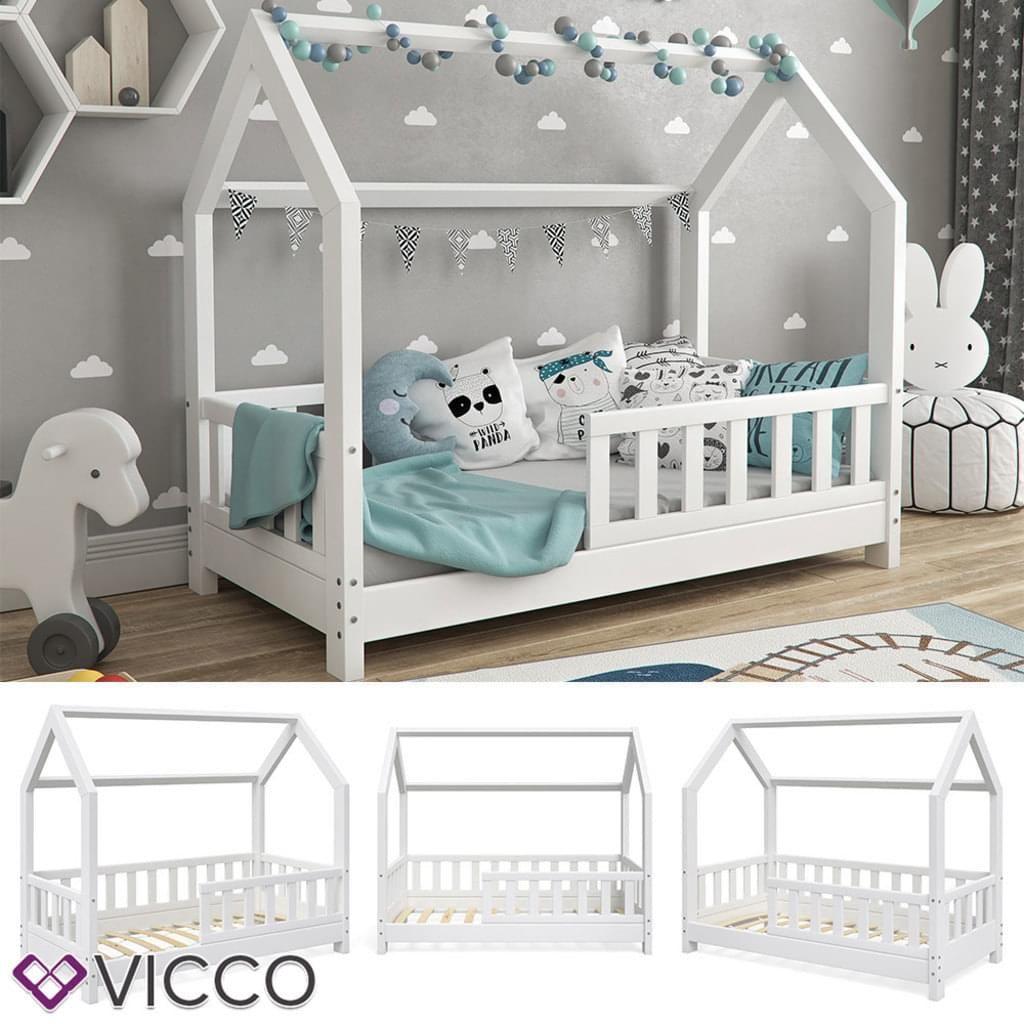 Kinderbett VICCO Hausbett WIKI 70x140cm Zaun Weiß