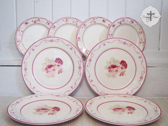 Waverly Garden Room Vintage Rose Set of 8 Plates - 4 Dinner 4 Salad - & Waverly Garden Room Vintage Rose Set of 8 Plates - 4 Dinner 4 Salad ...
