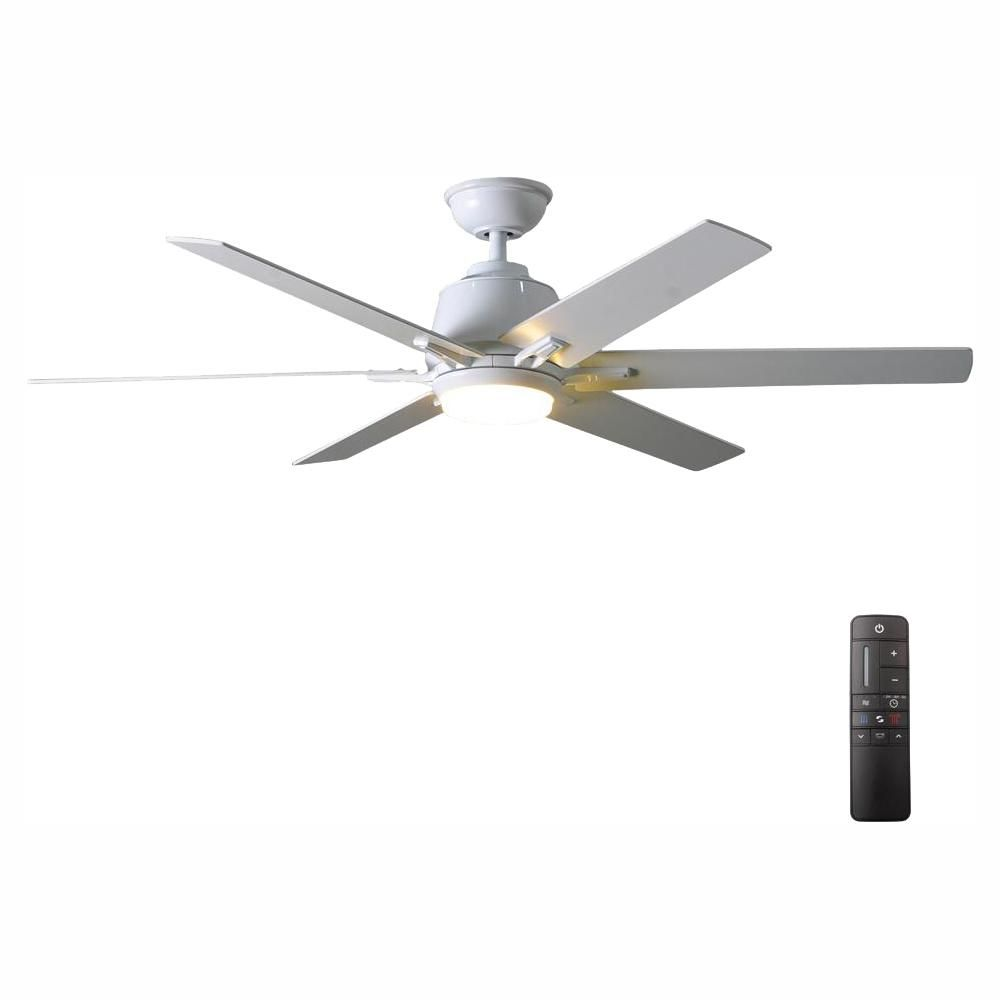 Home Decorators Collection Kensgrove 54 In Integrated Led Indoor White Ceiling Fan With Light Kit And Remote Control Ceiling Fan White Ceiling Fan Brushed Nickel