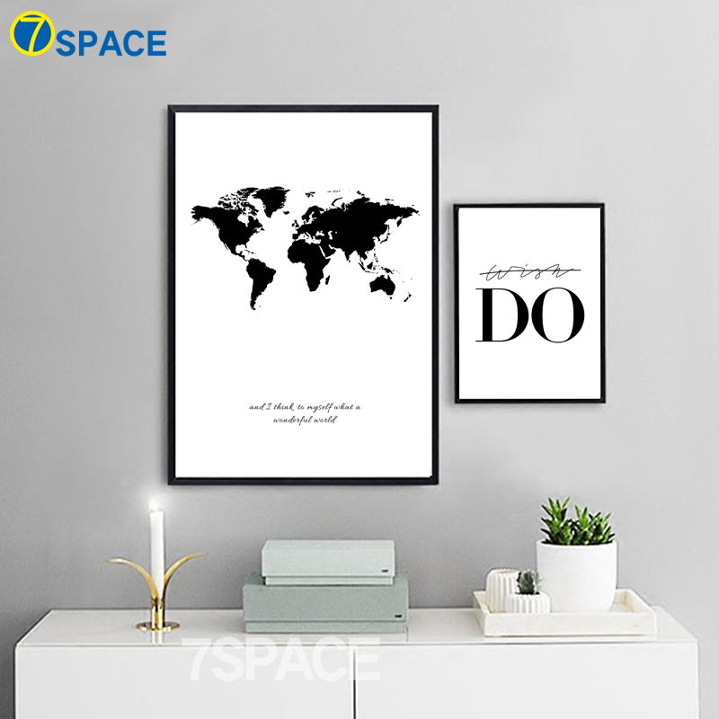7 Space Nordic Wall Art Canvas Painting Black