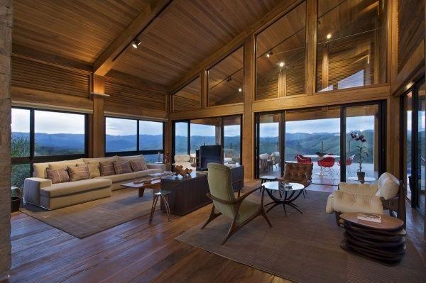 Modernes Holzhaus holzhaus modernes innendesign raumhohe verglasung house