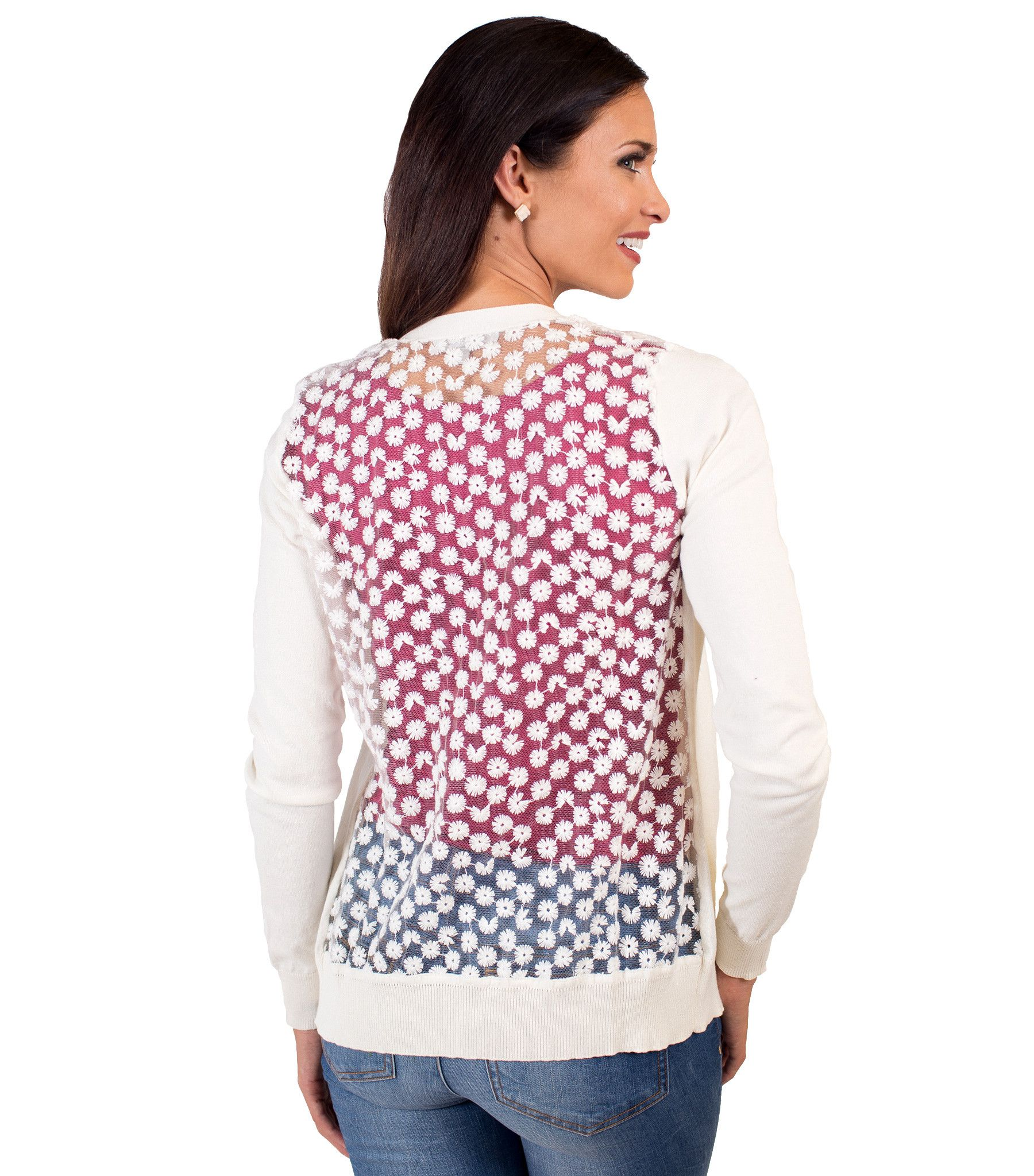 Classic Cardigan - Floral Embroidered Mesh Back – DOWNEAST