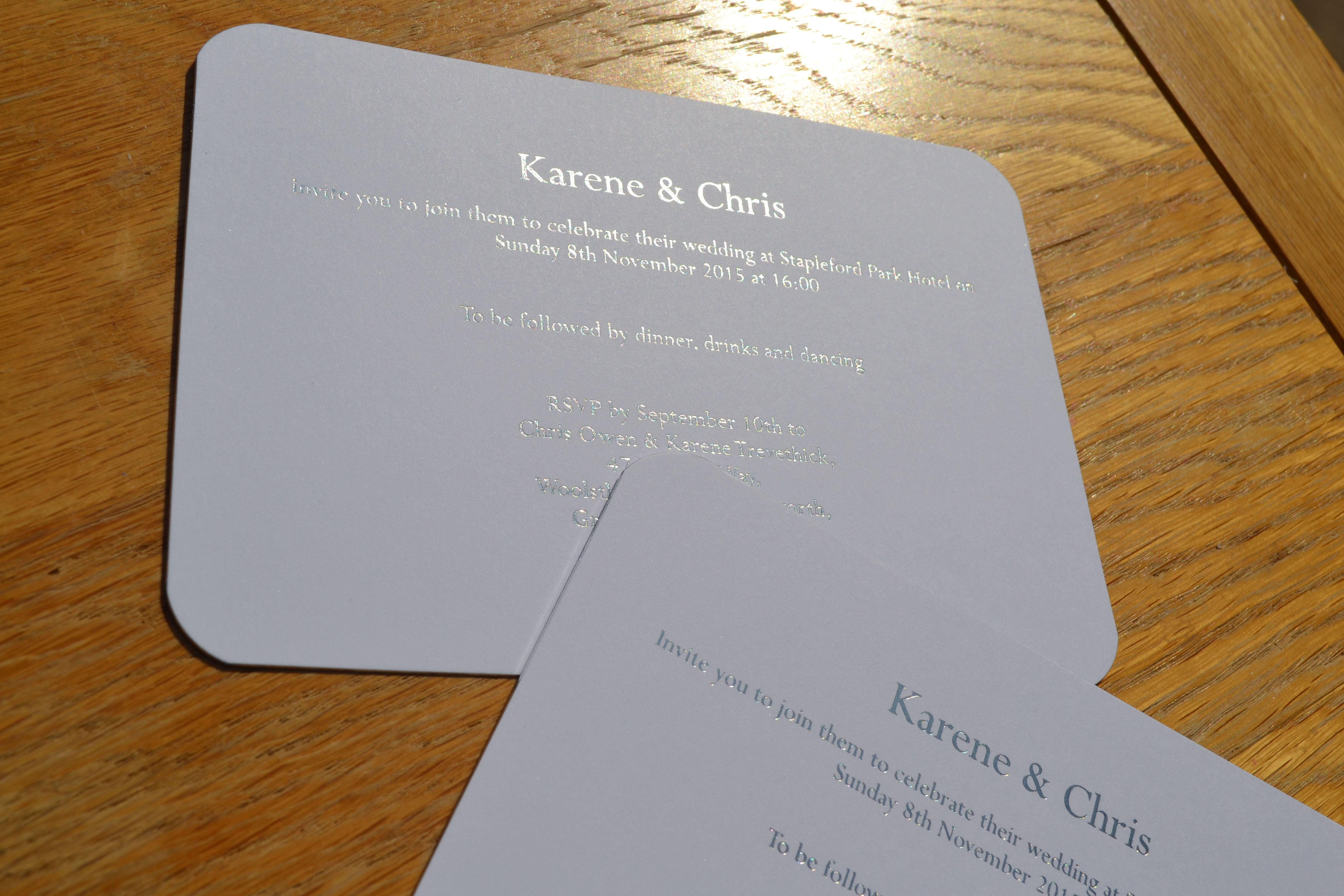 invitations to wedding%0A Silver foil printed wedding invitations on white board with silver gilt  edges  u     round corners