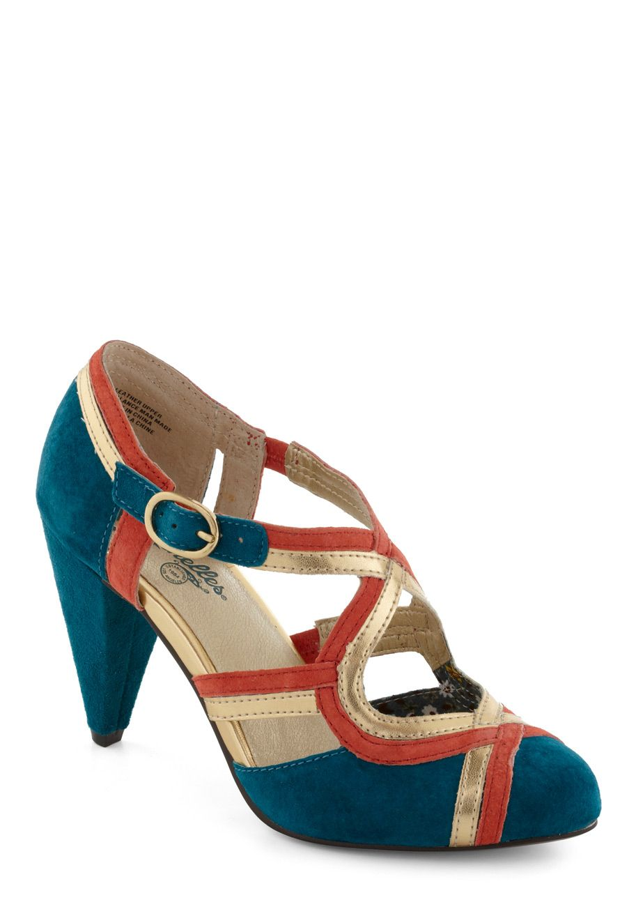 Petunia Heel in Teal by Seychelles - Mid, Leather, Blue, Coral, Luxe, Holiday Party, Gold