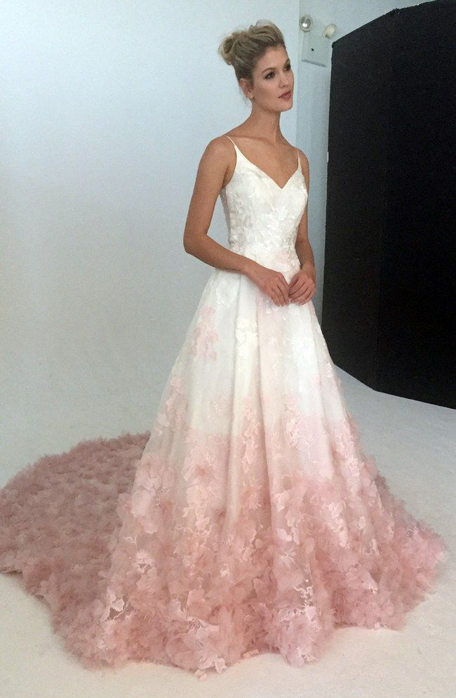 V neck silk organza ball gown wedding dress with blush for Pink ombre wedding dress