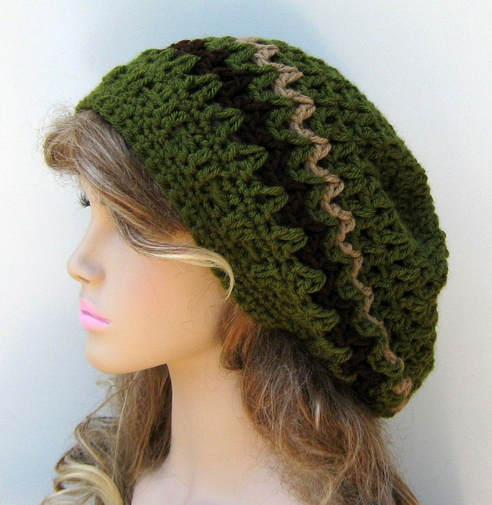 Olive Slouchy Beanie Smaller Hippie Dread Tam Hat Green Crochet