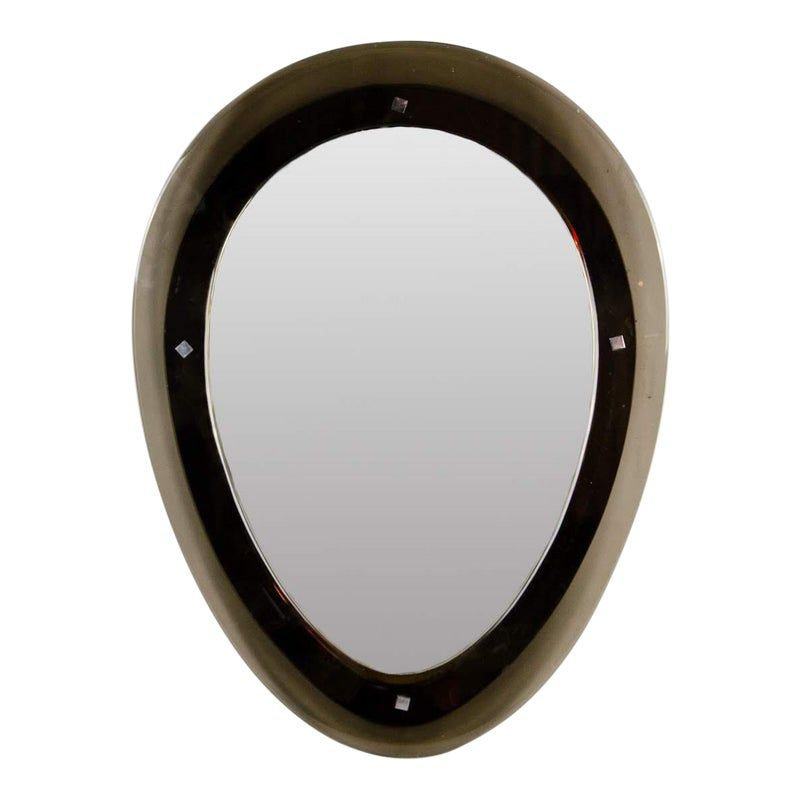 Modern Black Oval Shaped Wall Mirror Mirror Metal Mirror Modern