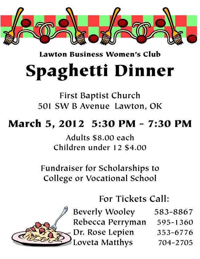 Lawton S Womens Business Club Spaghetti Dinner Spaghetti Dinner Fundraiser Flyer Fundraising