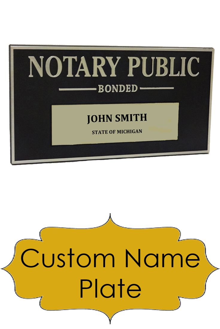 A Custom Name Plate That Can Be Mounted To Your Wall Or Door Or Propped On Your Desk Notary Notary Public Custom