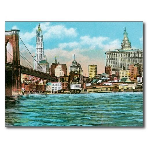 Brooklyn Bridge, Woolworth and Municipal... Post Card