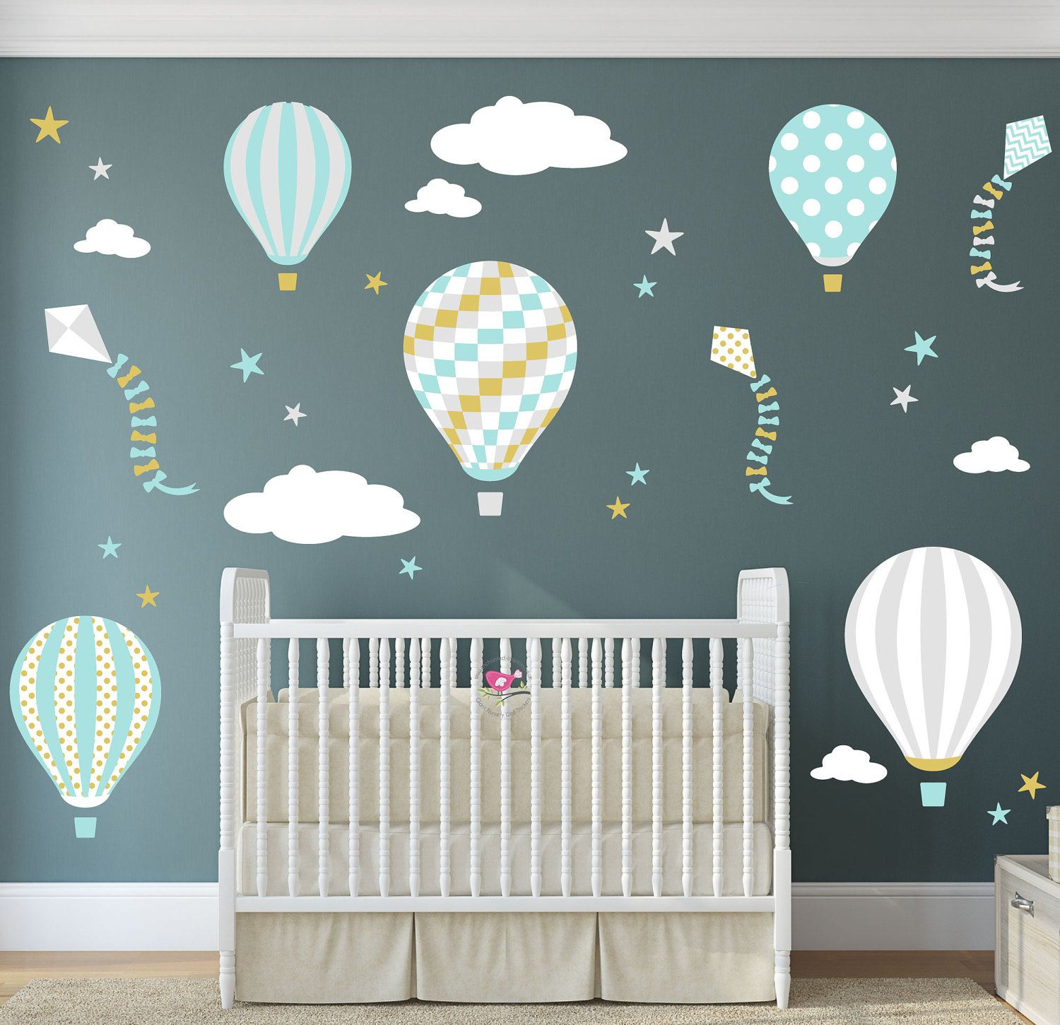 Enchanted Interiors Nursery Wall Art Decor Hot Air Balloon &