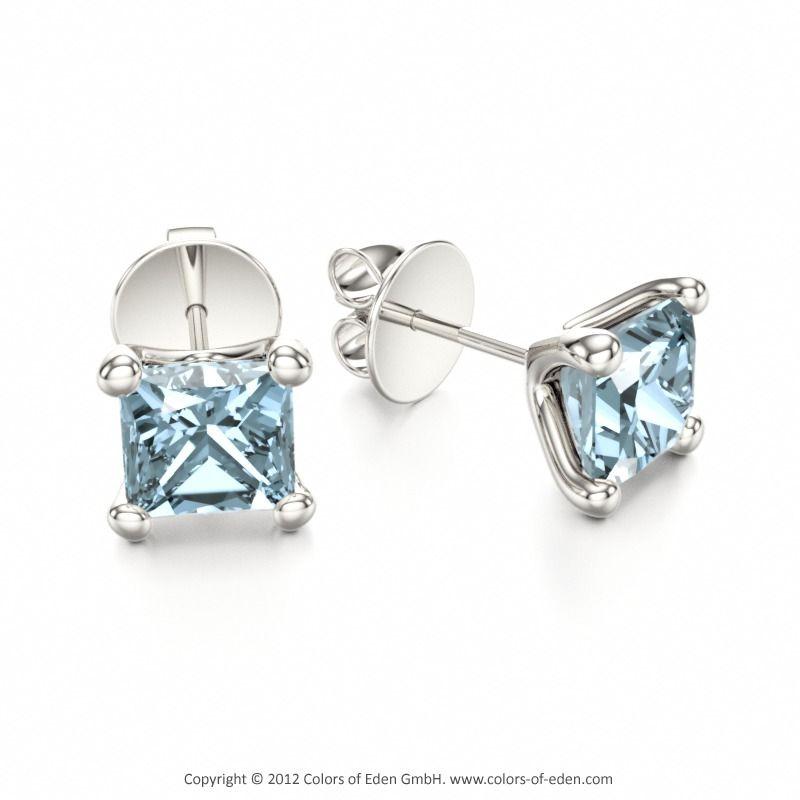 Aquamarine Stud Earrings S Best Friends White Gold Diamond