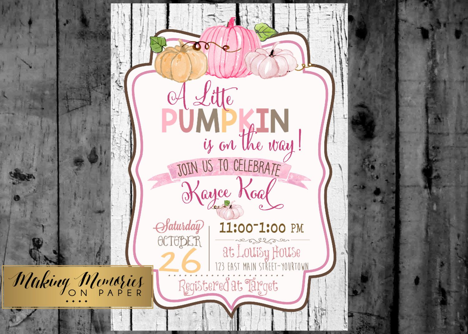 happy birthday invitation pictures%0A Little pumpkin baby shower  watercolor Pumpkin Fall baby shower  Our little  Pumpkin  First Birthday Invitation
