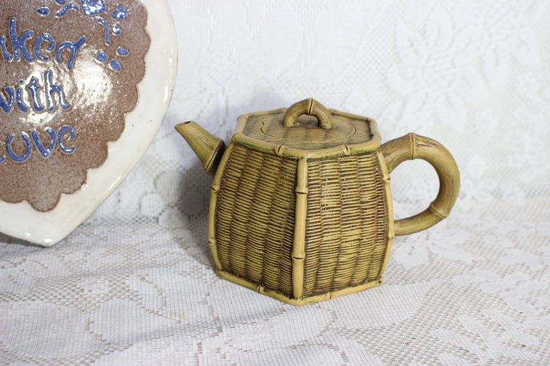 with  rattan handle inspired by japanese style Stoneware teapot with 2 cups white and flat shape