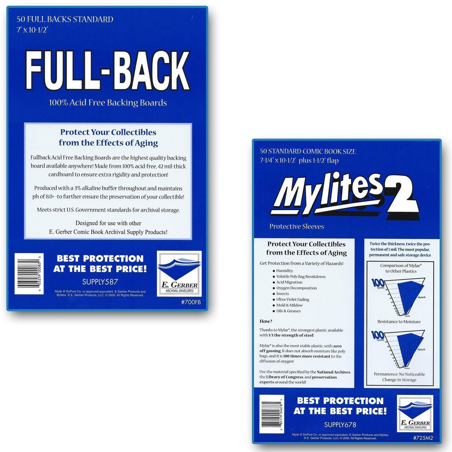 Pack 50 Mylites 4 Mil Mylar Bronze//Silver Age Comic Book Bags STANDARD Sleeves