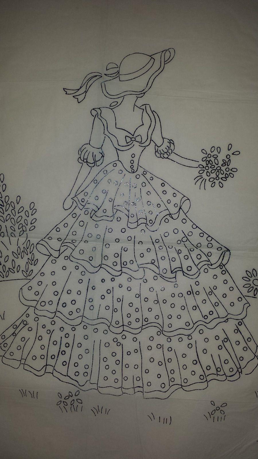 Vintage Robin Crinoline Lady Embroidery Transfer Pattern 8100 2 ...