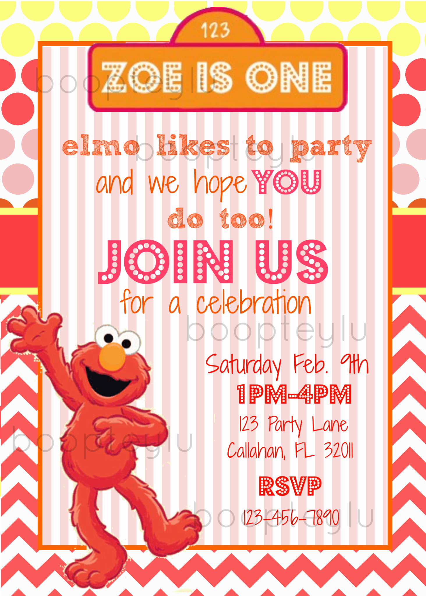Sesame Street/Elmo inspired party invitation, personalized and ...