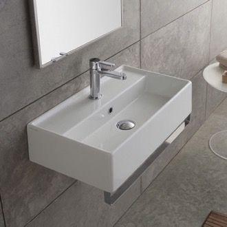 rectangular wall mounted ceramic sink with polished chrome towel bar rh pinterest co uk