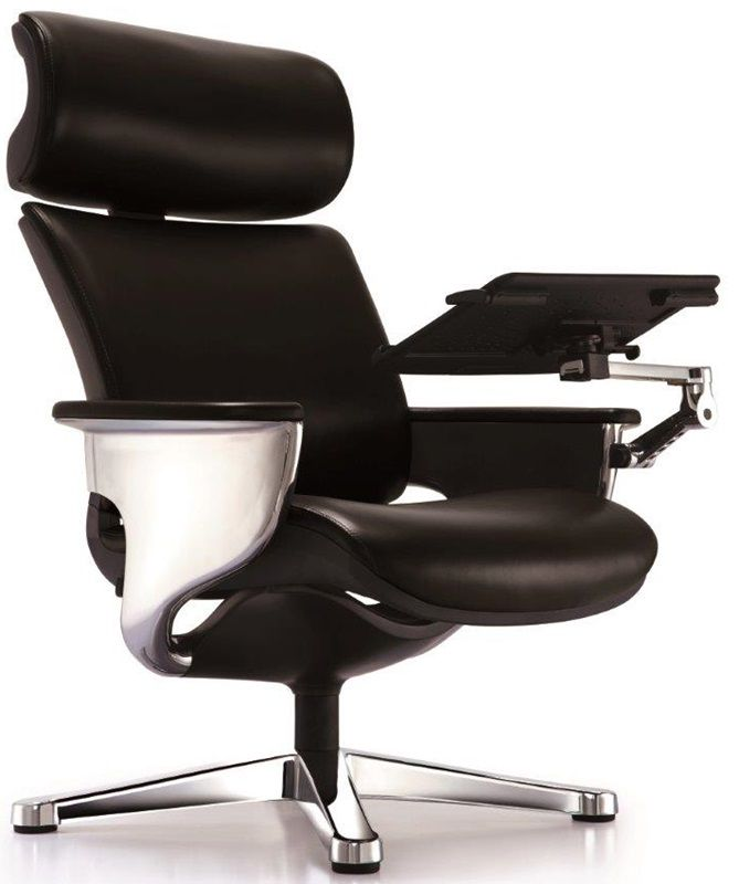 nuvem leather office chair with footrest and built in laptop