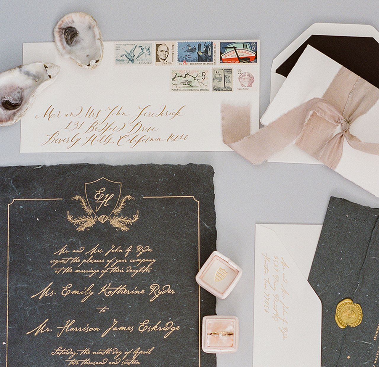 Romantic Shipwreck Inspired Wedding Invitations by Poste Co