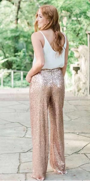 Two Piece Rose Gold Sequin Bridesmaid Jumpsuit,Cheap Bridesmaid Dresses,WGY0382 Two Piece Rose Gold Sequin Bridesmaid Jumpsuit,Cheap Bridesmaid Dresses,WGY0382 #bridesmaidjumpsuits