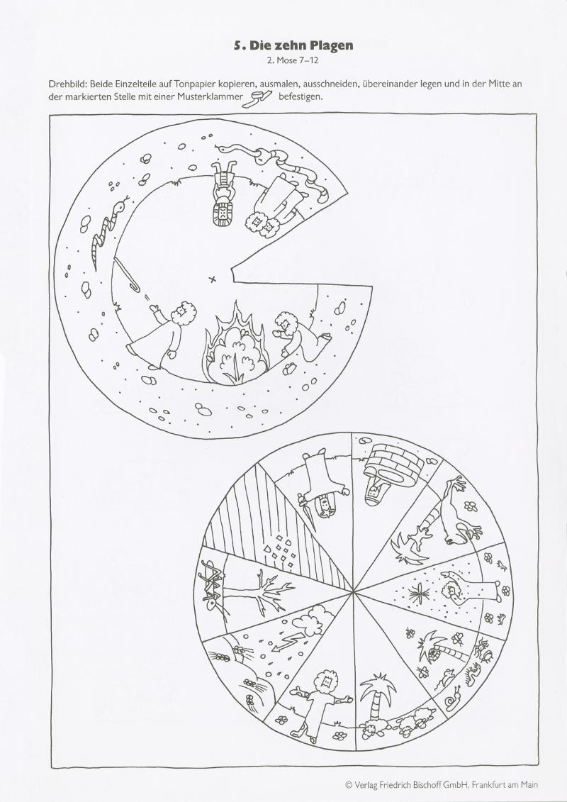 Draaischijf Tien Plagen Bible Wheel 10 Plagues Zondagsschool