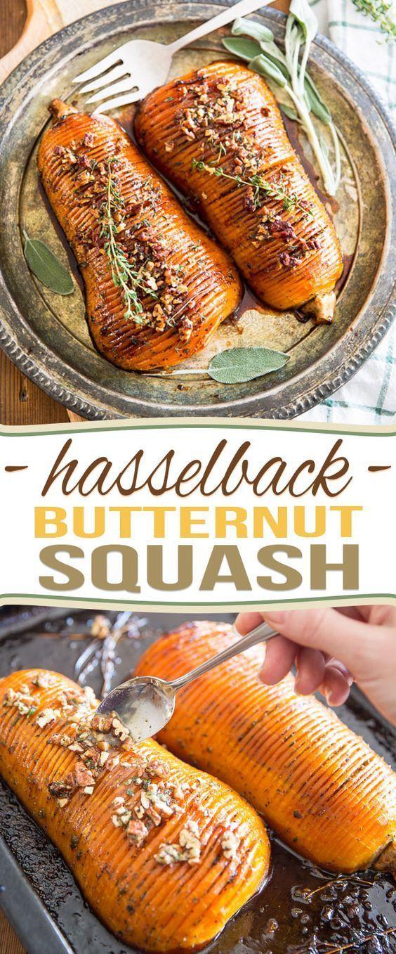Honey Glazed Hasselback Butternut Squash   - Vegetables -