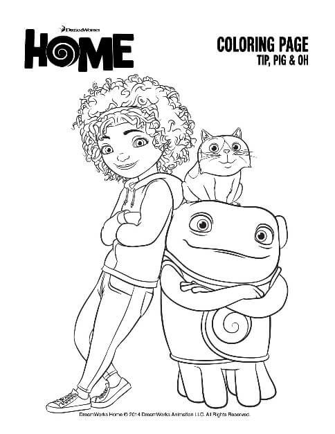 HOME Coloring Page Tip Pig And Oh
