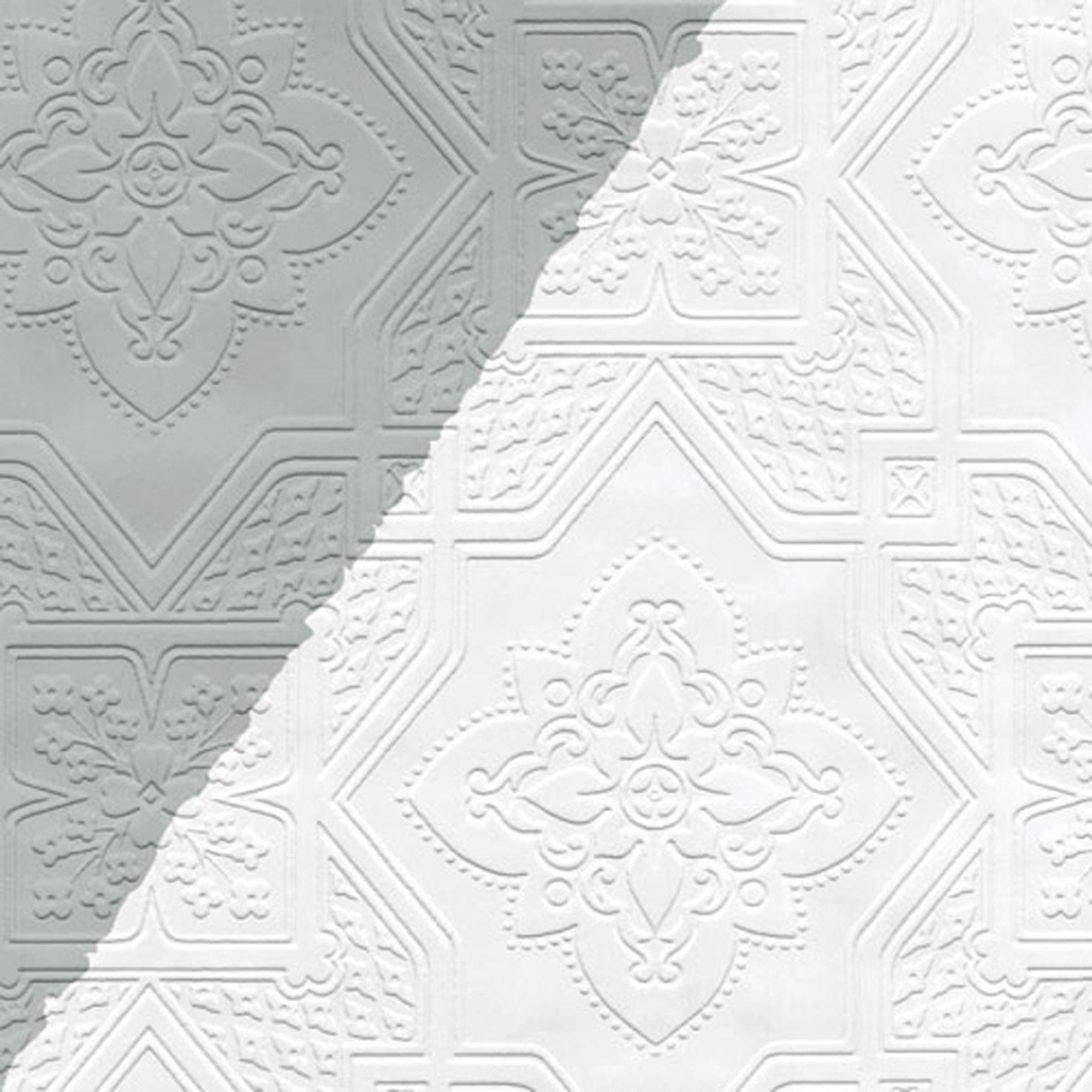 "Diamond Square 33' x 20.5"" Prepasted Paintable Wallpaper"