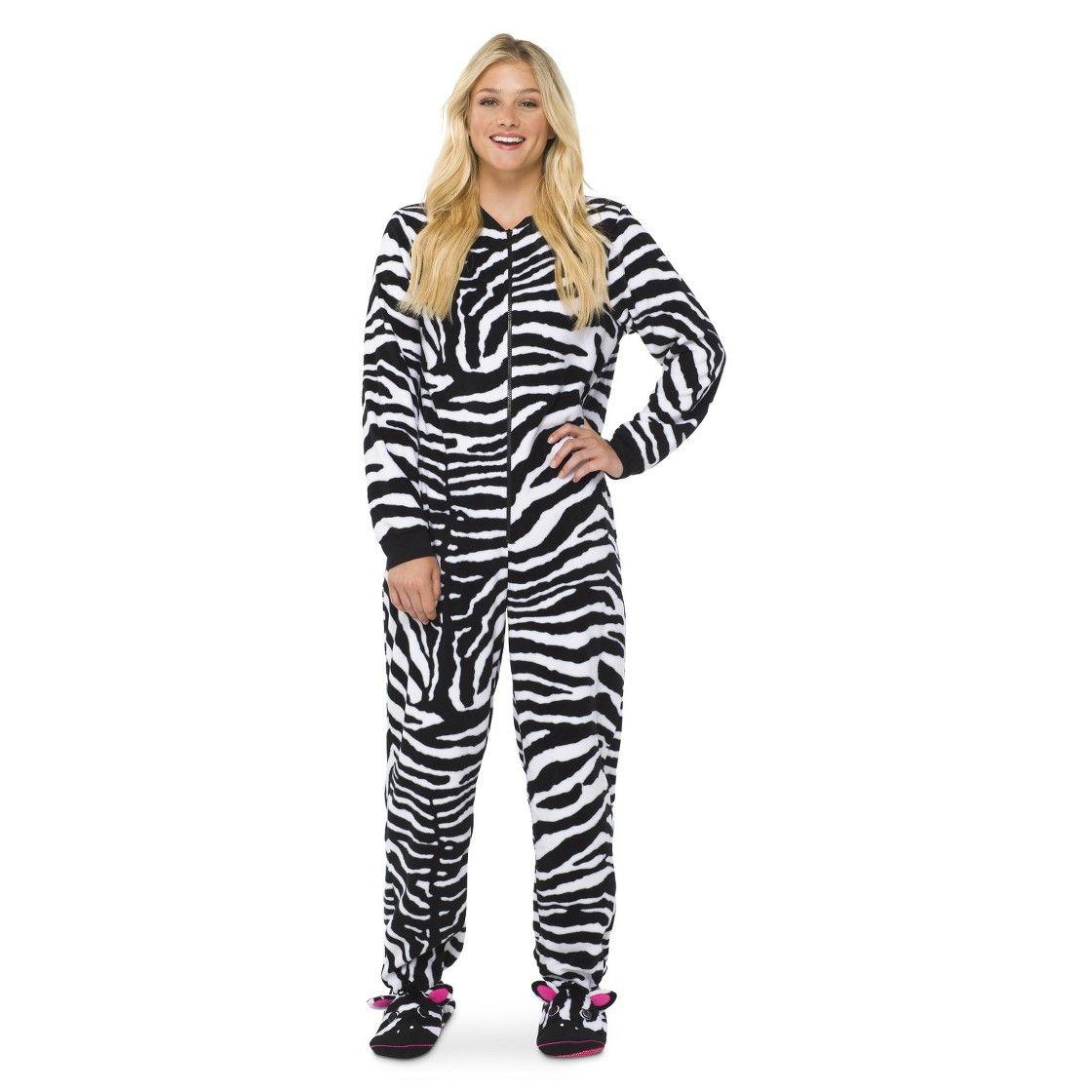 Women' Zebra Footie Pj Black White Fall Fashion