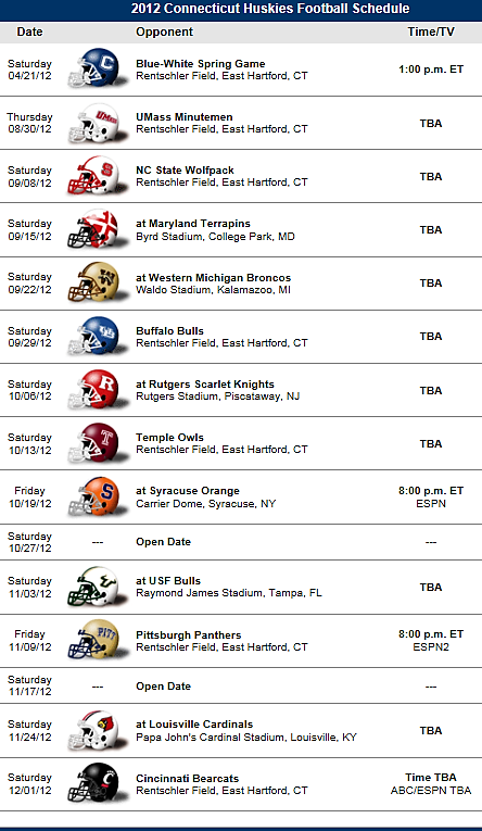 Uconn Huskies Connecticut 2012 Football Schedule Big East