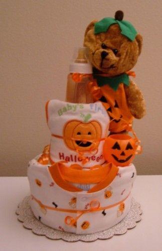 Baby S First Halloween Diaper Cake With Sleeper Bib Baby