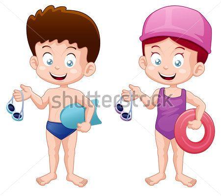 Ninos En Traje De Bano Caricatura Buscar Con Google Kids