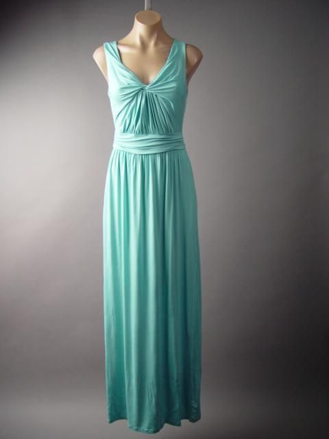$60 Pastel Blue Goddess Gathered Twist Front Jersey Gown Long 127 df Dress L #Other #Maxi #Casual