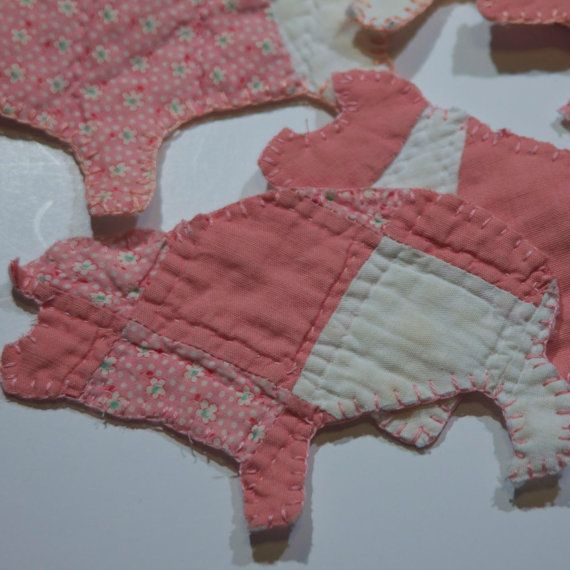 vintage cutter quilt Pig Christmas ornament peach creams hand embroidered  folk art decoration ornament