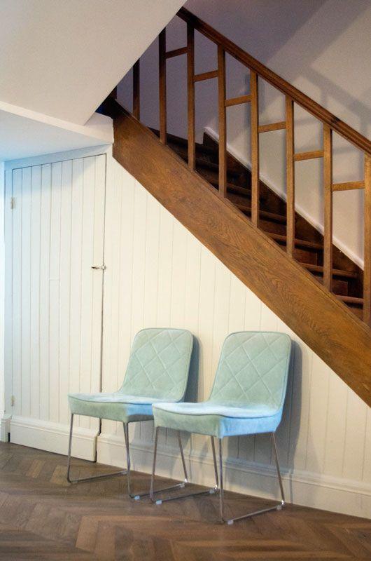 Rénovation - maison de ville - escalier bois restauré - extension - escalier interieur de villa