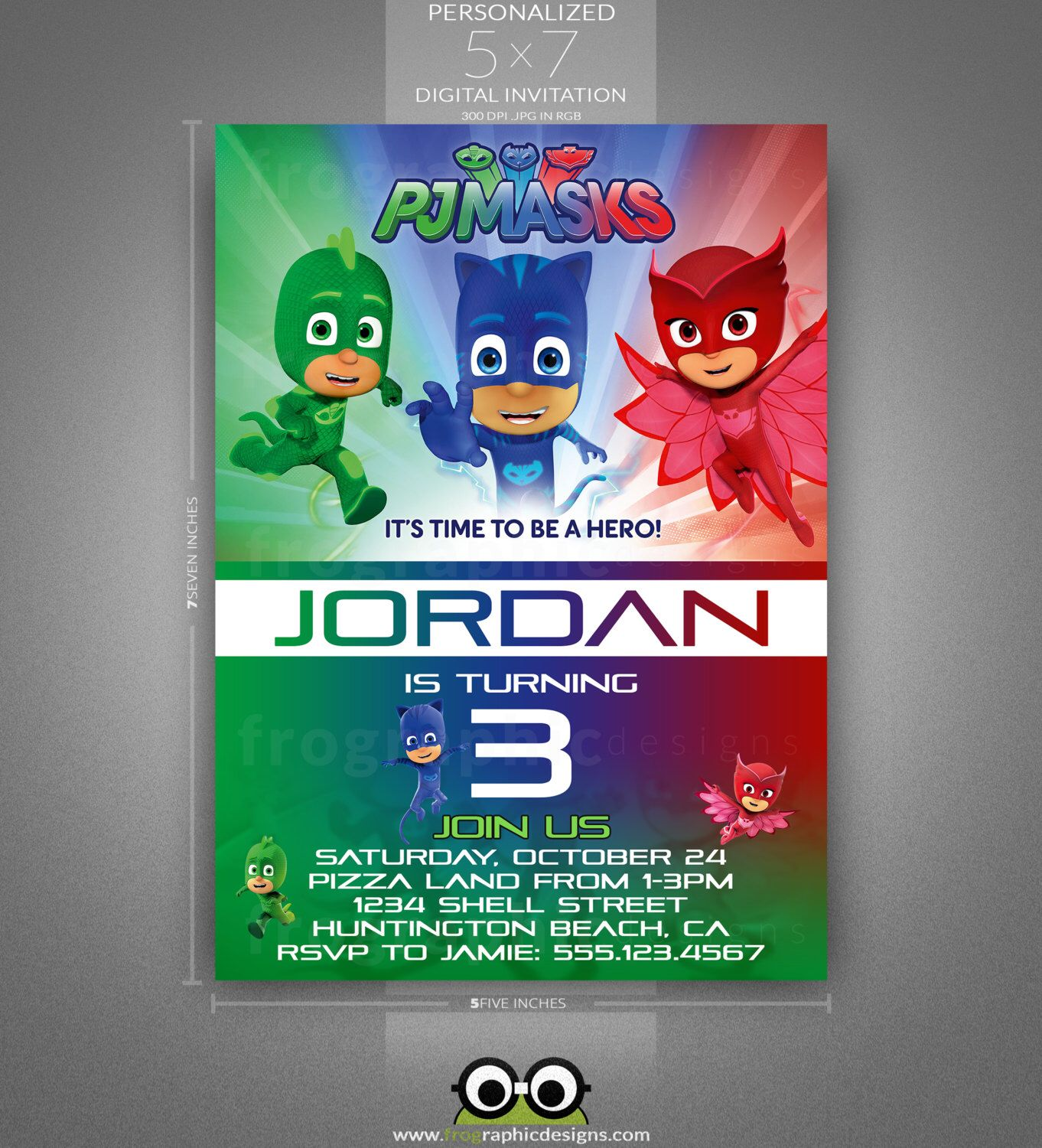 PJ Masks Birthday Invitation by frographicdesigns on Etsy https ...