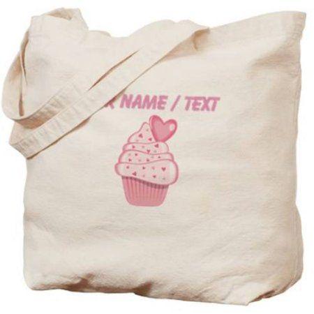 Cafepress Personalized Custom Pink Heart Cupcake Tote Bag, Women's, Multicolor