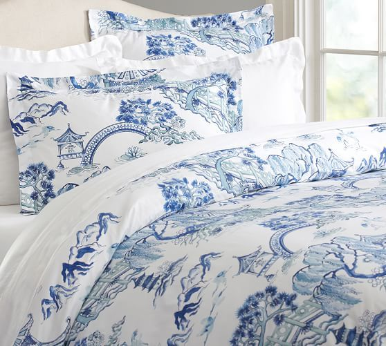 Darcy Toile Organic Duvet Cover King Cal King Twilight