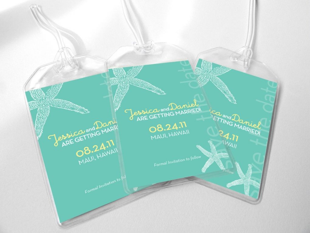 destination wedding invitation rsvp date%0A Custom Save The Date Wedding Luggage Tags  Beach Starfish for Destination  Wedding