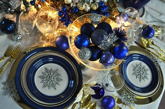 Set The Table For The Occasion Blue Snowflakes And Gold Christmas Gold Holiday Tablescape Holiday Tablescapes Gold Christmas Decorations