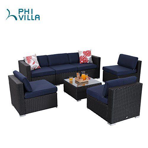 special offers phi villa 7 piece patio furniture set rattan rh pinterest com