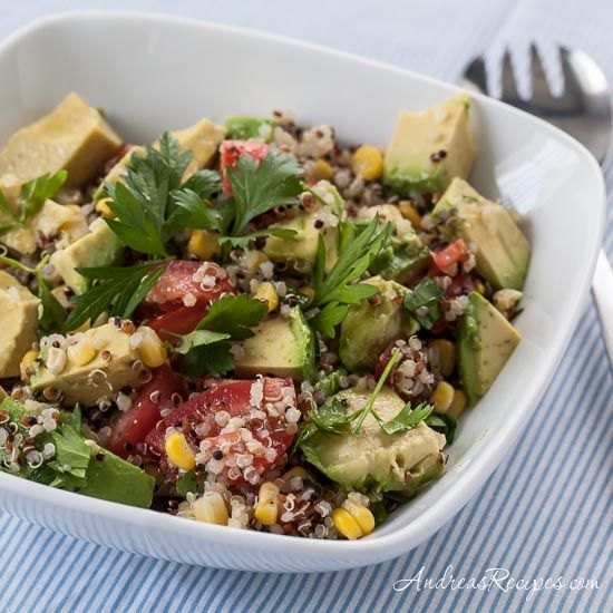 Quinoa Avocado Salad with Parsley, Corn, Tomatoes, and Lemon Vinaigrette, with tips on growing parsley