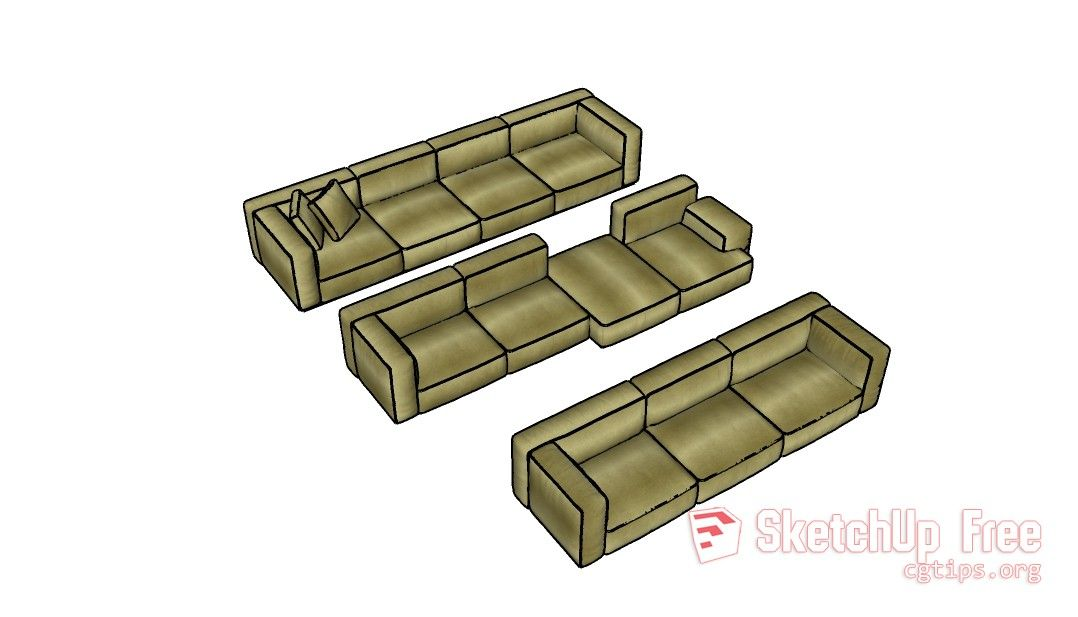 279 Sofa Sketchup Model Free Download Kutipan Hidup