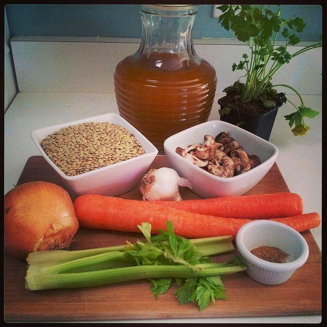 Brown Lentil Soup, in progress  Recipe on my blog http://vegangypsy.blogspot.com