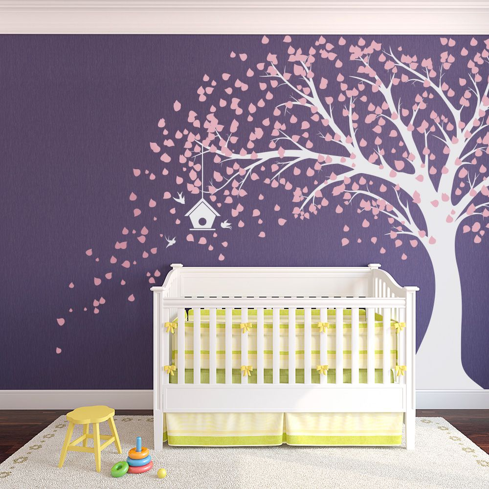 Large Windy Nursery Tree Decal With Birdhouse  Carnation Pink And White # Nursery Part 47