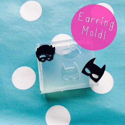 EARRING MOLD - Batman and Robin Shape Resin Craft Silicone Rubber Stud Earrings